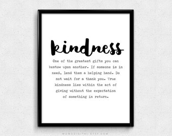 SALE -  Kindness, Kindness Quote, Literary Quote, Literary Print, Literature Print, Literary Poster, Quote Poster, Modern Print