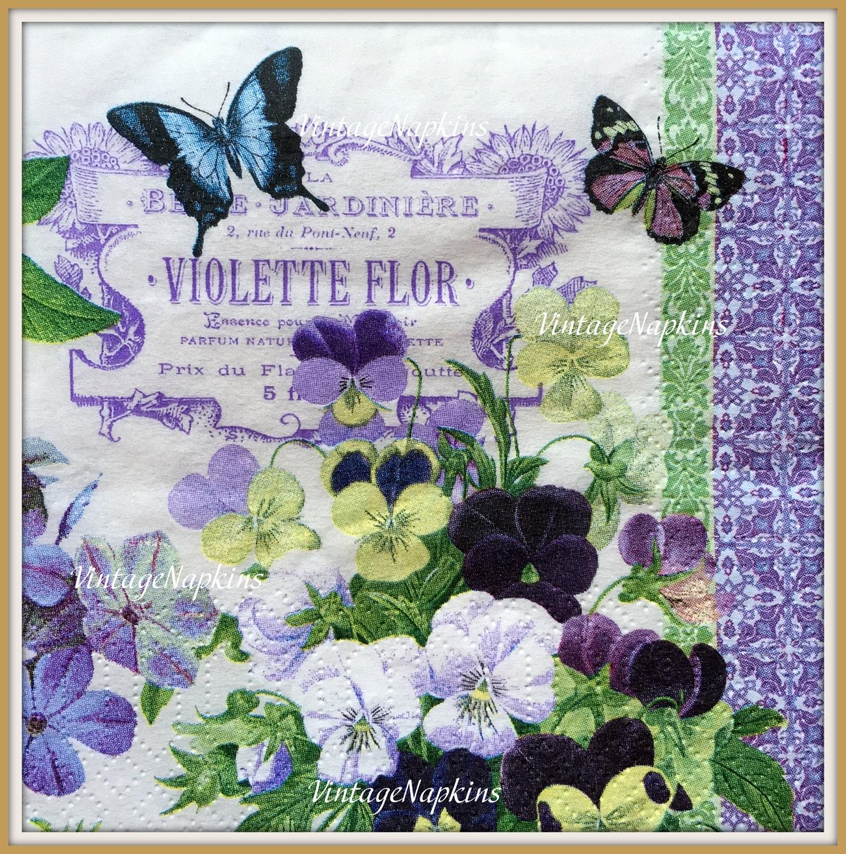 Sale two paper napkins for decoupage vintage violets and - Vintage bilder kostenlos ...