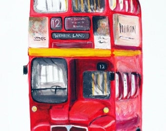 Personalised Red London Double Decker Bus Painting Wall Canvas