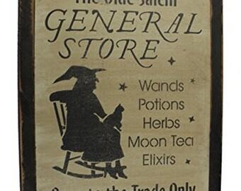 Halloween Olde Salem General Store Wood Sign