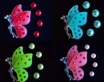 1 pcs Crystal Butterly Alloy Jewelry Accessories  Rhinestone 3-D Colorful ButterfliesAcrylic  Cabochons- DIY Phone Case Deco Clearance Sale