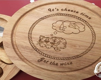 Laser Engraved Personalised Cheese Board and Knife Set with Cat Design for an Ideal Gift