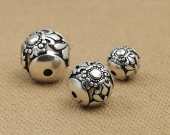 Sterling Silver Spacer Beads 925 Silver Bead Wholesale Jewelry Findings Roundness Beads Antique Bali Silver Oxidized Bead S220