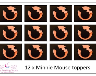12 x Edible Fondant Minnie Mouse Cupcake/Cake Toppers