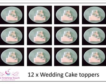 12 x Edible Fondant Wedding Cake Engagement Cupcake/Cake Toppers