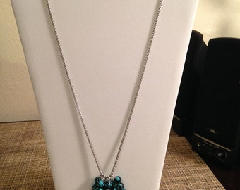 Glass Beads on Chain Necklace with Matching Earrings