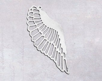 10 x Stainless Steel Thin Filigree Wing Pendant Charm Stampings Embellishment