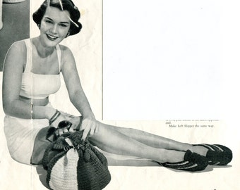 1940's Beach Tote Bag & Slippers in Crocheted Cotton PDF Pattern Instant Download