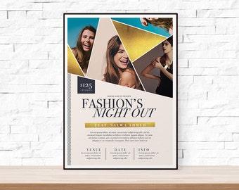 DIY Printable Fashion Week Geometric Event Flyer Template for Church, School, University, Fashion Show, Feminine