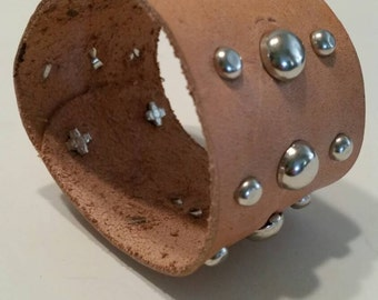 Silver Studded Bracelet Cuff Genuine Leather - Natural