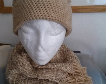 Beige Love Flecks - Hat and Scarf