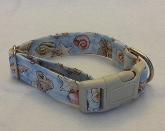Dog collar, Martingale collar, buckle collar, Beach theme collar. She Collects Sea Shells...