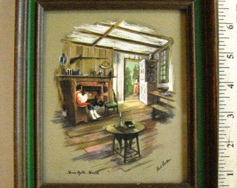 """Vintage Paul Porter Print """"Home by the Hearth"""""""