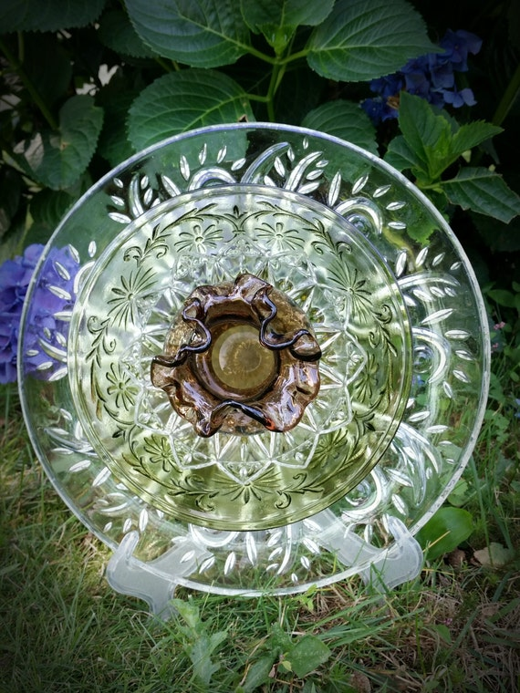Upcycled glass garden decor vintage glass by for Upcycled yard decor