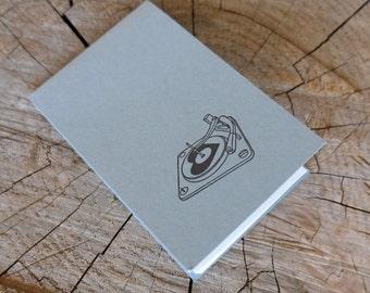 Letterpress Booklet, Mini Record Player - Steel Grey