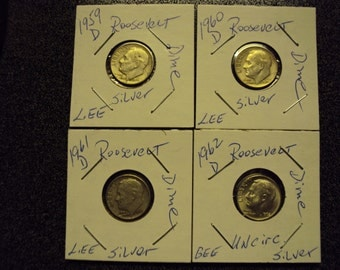 1959D 1960D 1961D 1962D Roosevelt Dimes. The 1962d is uncirculated.