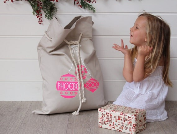 Personalised Santa Sack Pink Baubles,christmas sack, christmas bag,personalized santa sack, christmas name bag,kids christmas decoration