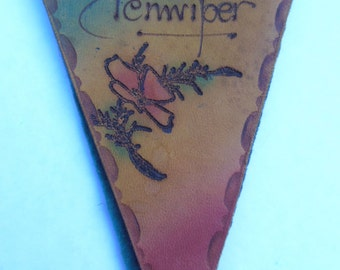 Vintage Antique Rare Leather Pennant Shaped Penwiper Pen Wiper