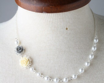 Yellow and grey bridesmaid rose necklace, pearl necklace, grey and yellow wedding, bridesmaid gift, flower girl necklace, bridesmaid gift