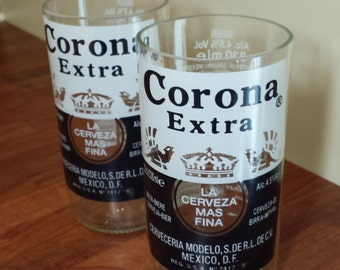 Corona beer bottle drinking glasses x 2