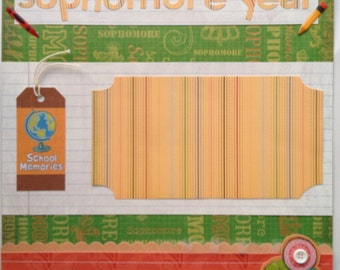 "Sophomore Year 12x12"" Premade Scrapbook Page"