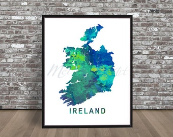 Ireland country watercolor Map, watercolour painting city print art Illustration travel retro skyline Irish, Celtic, green Dublin cityscape
