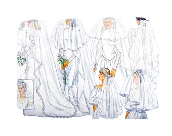 1987 Butterick Classics 4649 Misses' Bridal Veils or Headpieces with Length and Style Variations Uncut Sewing Pattern One Size