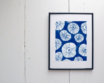 Mod Flower Watercolor Print - watercolor painting, rustic, modern, JPress Designs, original artwork, watercolor print, simple, pattern print