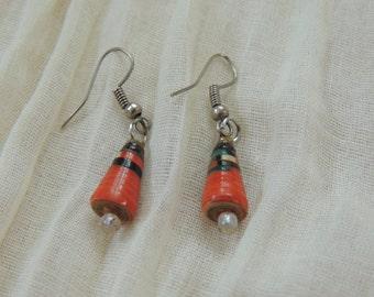 Orange paper bead earrings