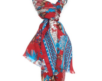 Red Floral Border Print Scarf