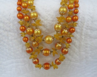 Vintage 1950s Beaded Necklace Gorgeous Apricot Coloring 50s Marked Hong Kong