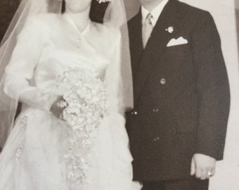 FREE SHIPPING! Vintage black & white wedding photograph from 1947