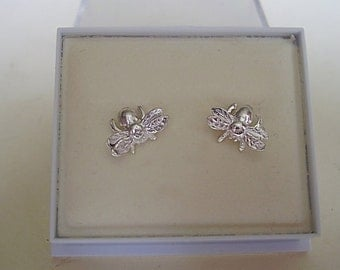 One Pair Sterling Silver Bee Stud Earrings