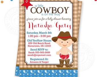 Cowboy Baby Shower Printable Invitation, DIY or Printed Custom Cowboy Baby Invitation, Western Baby Shower Invitation, Baby Cowboy Shower v3