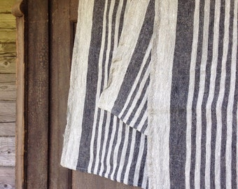 Set of Four Durable Linen tea towels, Thick Dish towels, kitchen towels, striped linen towels by Linenbee