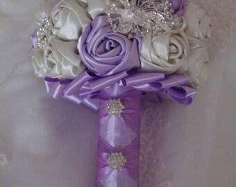 Light Purple & Ivory Brooch Bouquet , Satin Ribbon Flower Bouquet
