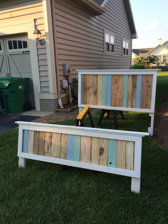 Items similar to Reclaimed Wood Pallet Headboard and ...