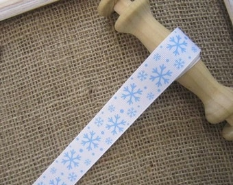 Snowflake Grosgrain Ribbon 25mm (Sold In 1 yard lengths)