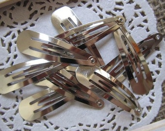 DIY Silver Snap Hair Clips 50mm (Sold in packs of 10)