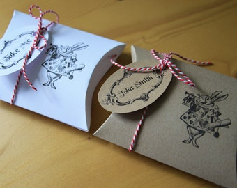 set of 8 gift boxes wedding favours Alice in Wonderland theme with tags