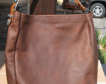 Large Rustic Leather Bag with Silver and Turquoise Buckle