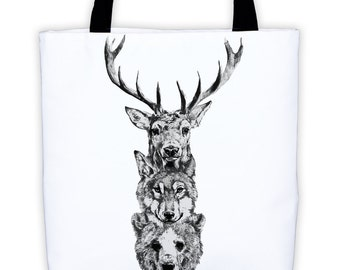 Bear, Wolf, Deer All-Over Tote