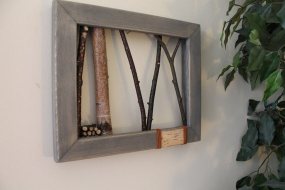 Rustic Log Cabin White Birch Bark Wall Hanging Cottage Decor