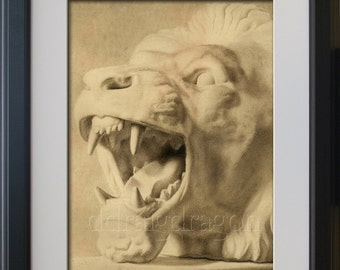 A limited edition print of a lion (unframed)