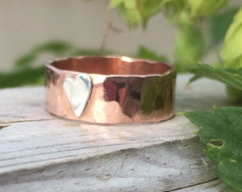 Copper ring with hammered band and sterling silver heart detail