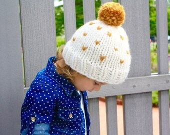 Faire Isle Chunky Knit Toddler Hat With Pom Pom {OLIVIA}