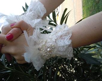 Bridal Gloves/ Bridal Cuffs/ Wedding Cuffs, Pearl Lace Gloves, Wedding gloves,cuffs ivory lace cuffs