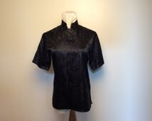 Asian style black satin blouse, c. 1960, size S