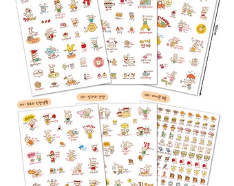 Kawaii Cat and Bunny Stickers, cat and rabbit deco stickers, cute kawaii sticker, cute korean sticker