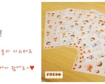 Korean Happy Sister Sticker deco, Cute Korean Happy Sister Sticker, Kawaii Korean Happy Sister Sticker Planner